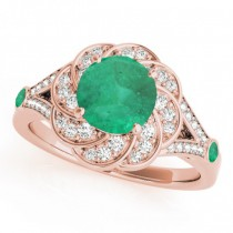 Diamond & Emerald Floral Swirl Engagement Ring 18k Rose Gold (1.25ct)