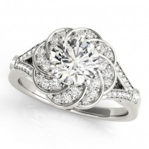 Diamond Floral Swirl Split Shank Engagement Ring Palladium (1.25ct)