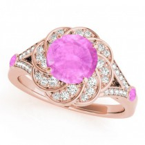 Diamond & Pink Sapphire Floral Engagement Ring 18k Rose Gold (1.25ct)