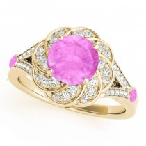 Diamond & Pink Sapphire Floral Engagement Ring 18k Yellow Gold (1.25ct)