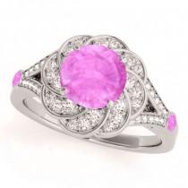 Diamond & Pink Sapphire Floral Engagement Ring Palladium (1.25ct)