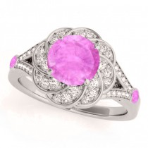 Diamond & Pink Sapphire Floral Engagement Ring Platinum (1.25ct)