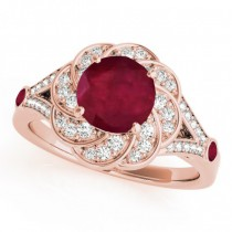 Diamond & Ruby Floral Swirl Engagement Ring 14k Rose Gold (1.25ct)