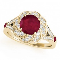 Diamond & Ruby Floral Swirl Engagement Ring 18k Yellow Gold (1.25ct)