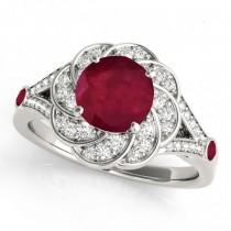 Diamond & Ruby Floral Swirl Engagement Ring Platinum (1.25ct)