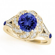 Diamond & Tanzanite Floral Swirl Engagement Ring 14k Yellow Gold (1.25ct)
