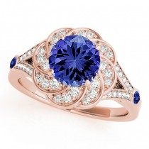 Diamond & Tanzanite Floral Swirl Engagement Ring 18k Rose Gold (1.25ct)