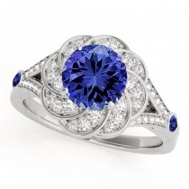 Diamond & Tanzanite Floral Swirl Engagement Ring 18k White Gold (1.25ct)