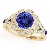 Diamond & Tanzanite Floral Swirl Engagement Ring 18k Yellow Gold (1.25ct)
