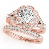 Diamond Floral Swirl Split Shank Bridal Set 14k Rose Gold (1.35ct)