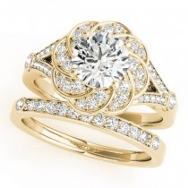 Diamond Floral Swirl Split Shank Bridal Set 14k Yellow Gold (1.35ct)