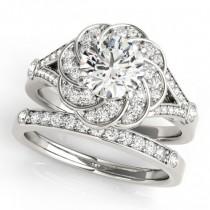 Diamond Floral Swirl Split Shank Bridal Set 18k White Gold (1.35ct)