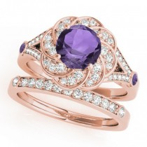 Diamond & Amethyst Floral Swirl Bridal Set 14k Rose Gold (1.35ct)