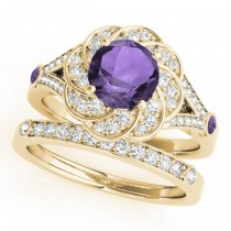 Diamond & Amethyst Floral Swirl Bridal Set 14k Yellow Gold (1.35ct)
