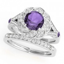 Diamond & Amethyst Floral Swirl Bridal Set 18k White Gold (1.35ct)