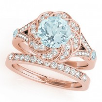 Diamond & Aquamarine Floral Swirl Bridal Set 14k Rose Gold (1.35ct)