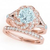 Diamond & Aquamarine Floral Swirl Bridal Set 18k Rose Gold (1.35ct)