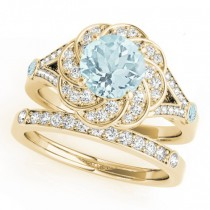 Diamond & Aquamarine Floral Swirl Bridal Set 18k Yellow Gold (1.35ct)