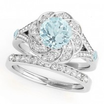 Diamond & Aquamarine Floral Swirl Bridal Set Palladium (1.35ct)