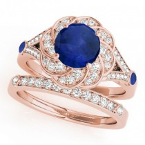 Diamond & Blue Sapphire Floral Swirl Bridal Set 14k Rose Gold (1.35ct)