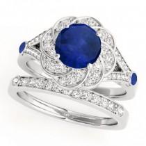 Diamond & Blue Sapphire Floral Swirl Bridal Set 14k White Gold (1.35ct)