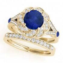 Diamond & Blue Sapphire Floral Swirl Bridal Set 14k Yellow Gold (1.35ct)