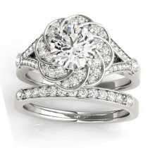 Diamond Floral Split Shank Bridal Set Setting 14k White Gold (0.35ct)