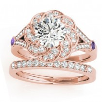 Diamond & Amethyst Floral Bridal Set Setting 14k Rose Gold (0.35ct)