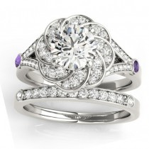 Diamond & Amethyst Floral Bridal Set Setting 14k White Gold (0.35ct)