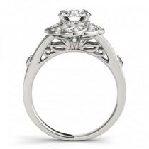 Diamond & Amethyst Floral Bridal Set Setting 14k White Gold (0.35ct)