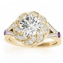 Diamond & Amethyst Floral Bridal Set Setting 14k Yellow Gold (0.35ct)