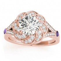 Diamond & Amethyst Floral Bridal Set Setting 18k Rose Gold (0.35ct)