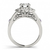 Diamond & Amethyst Floral Bridal Set Setting 18k White Gold (0.35ct)