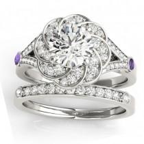 Diamond & Amethyst Floral Bridal Set Setting Platinum (0.35ct)