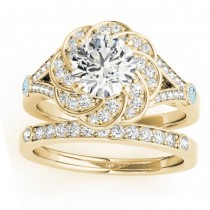 Diamond & Aquamarine Floral Bridal Set Setting 14k Yellow Gold (0.35ct)
