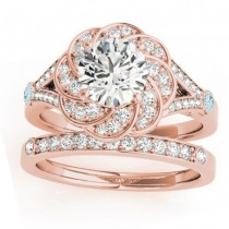 Diamond & Aquamarine Floral Bridal Set Setting 18k Rose Gold (0.35ct)