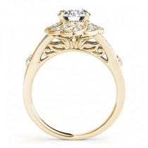 Diamond & Aquamarine Floral Bridal Set Setting 18k Yellow Gold (0.35ct)