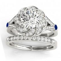 Diamond & Blue Sapphire Floral Bridal Set Setting 14k White Gold (0.35ct)