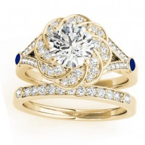 Diamond & Blue Sapphire Floral Bridal Set Setting 14k Yellow Gold (0.35ct)