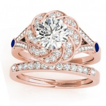 Diamond & Blue Sapphire Floral Bridal Set Setting 18k Rose Gold (0.35ct)