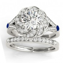 Diamond & Blue Sapphire Floral Bridal Set Setting 18k White Gold (0.35ct)