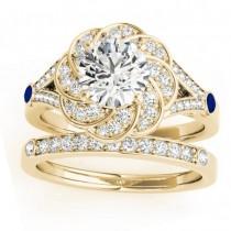 Diamond & Blue Sapphire Floral Bridal Set Setting 18k Yellow Gold (0.35ct)