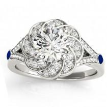 Diamond & Blue Sapphire Floral Bridal Set Setting Palladium (0.35ct)