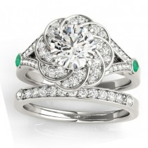 Diamond & Emerald Floral Bridal Set Setting 14k White Gold (0.35ct)