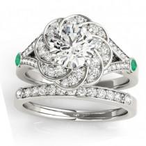Diamond & Emerald Floral Bridal Set Setting 14k White Gold (0.35ct)