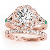 Diamond & Emerald Floral Bridal Set Setting 18k Rose Gold (0.35ct)