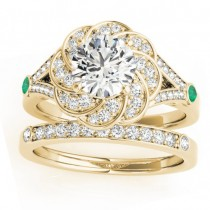 Diamond & Emerald Floral Bridal Set Setting 18k Yellow Gold (0.35ct)
