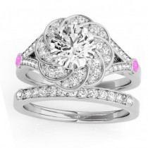 Diamond & Pink Sapphire Floral Bridal Set Setting 14k White Gold (0.35ct)