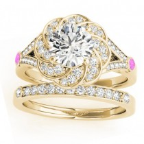 Diamond & Pink Sapphire Floral Bridal Set Setting 14k Yellow Gold (0.35ct)