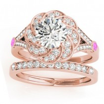 Diamond & Pink Sapphire Floral Bridal Set Setting 18k Rose Gold (0.35ct)